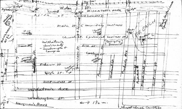 Mapa de Arkham elaborado por el propio HPL